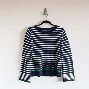 Cynthia Rowley stripe bell sleeve crewneck sweater